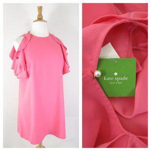 Kate Spade Petunia Pink Cold Shoulder Crepe Dress